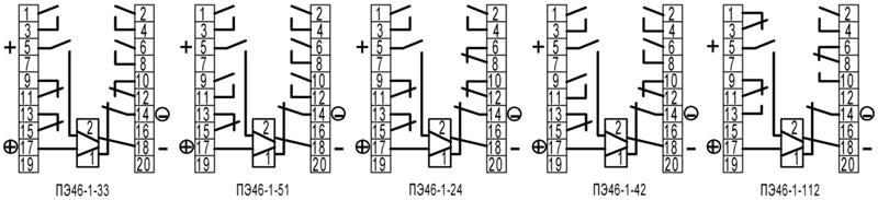 ППЭ46, ПЭ46-1 - схемы подключения