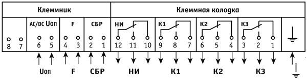 Схема подключения реле УРЧ-ЗМ-С, УРЧ-ЗМ-С-01