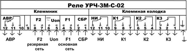 Схема подключения реле УРЧ-ЗМ-С-02
