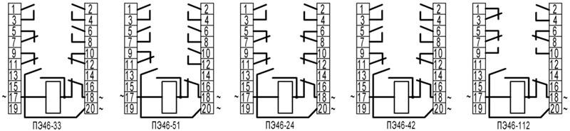ПЭ46, ПЭ46-1 - схемы подключения
